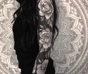 arm, roses, and tattoo image