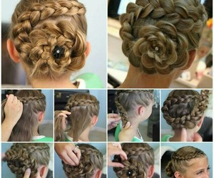 braid, flor, and hair image