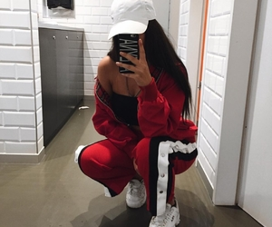 red, outfit, and selfie image