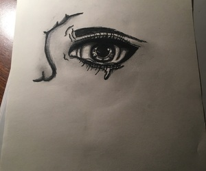 eye, pencil, and sketch image