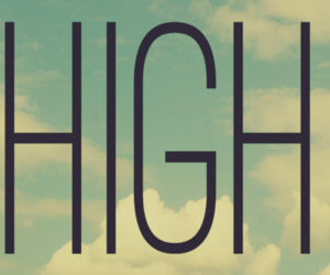high and text image