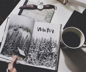 winter, art, and coffee image