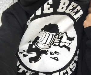 beer, girl, and black image