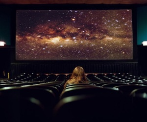 girl, galaxy, and cinema image