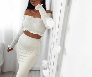 stylish fashion, white outfit, and ootd style image