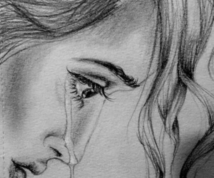 black and white, crying, and deep image