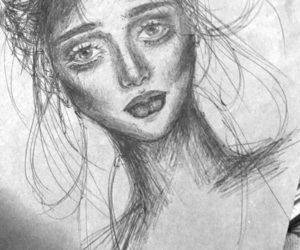 black and white, drawing, and emo image
