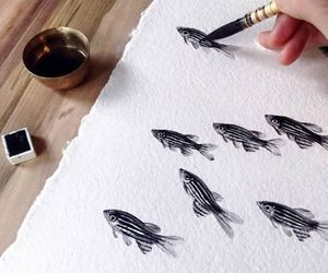 art, fish, and drawing image