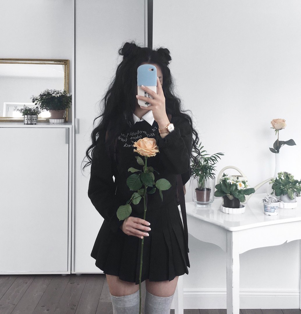 girl, black, and rose image