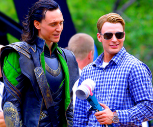 chris evans, loki, and tom hiddleston image