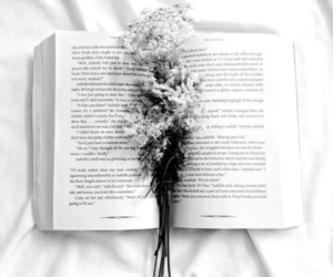 book, flowers, and white image