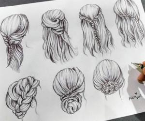 art, braids, and drawing image