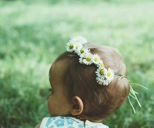 baby, flowers, and child image