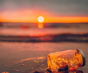 light, beach, and sunset image