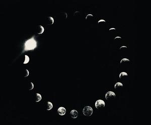 black, moon, and circle image