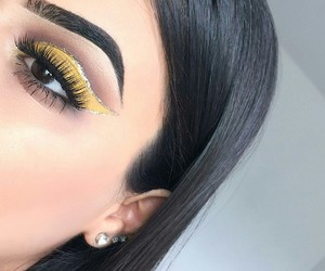 yellow, makeup, and love image