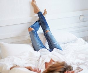girl, jeans, and bed image