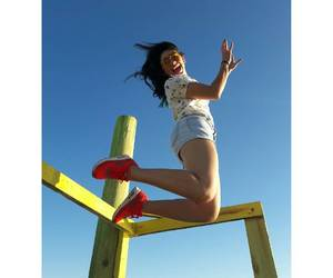 girl, bluesky ​, and jump image