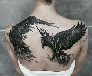tattoo, raven, and art image