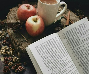 book, coffee, and apple image