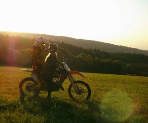 couple, motocross, and wallpaper image