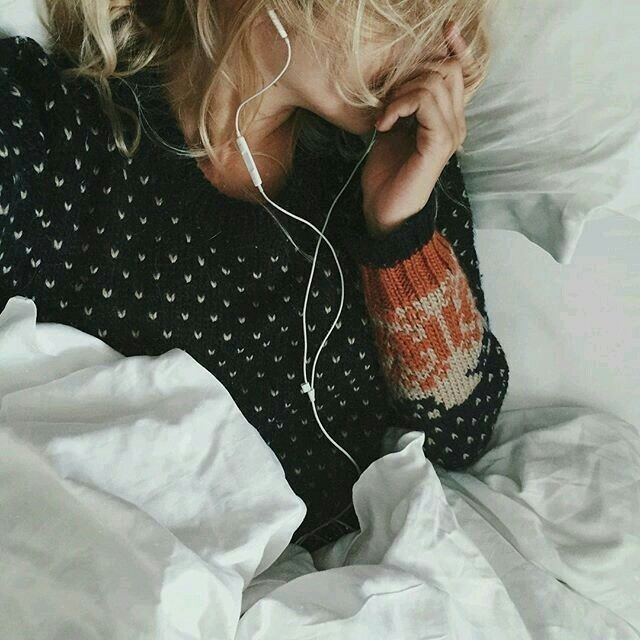 girl, music, and bed image