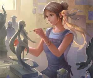 draw, girl, and mermaid image