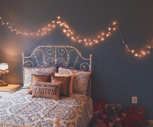 bedroom, home, and lights image