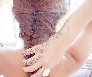 brunette, tattoo, and fishtail braid image