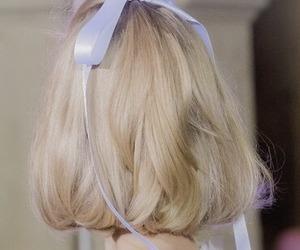 hair blonde blue bow image