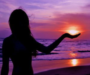 beach, silhouette, and sunset image