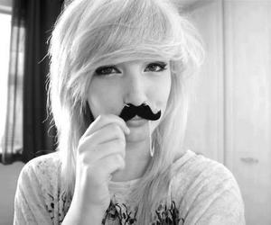 girl, mustache, and black and white image