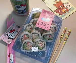 food, hello kitty, and sushi image