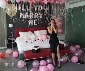 love, balloons, and proposal image