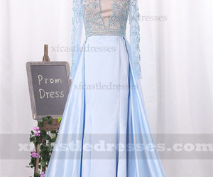 blue prom dresses, beaded prom dresses, and long sleeve prom dresses image