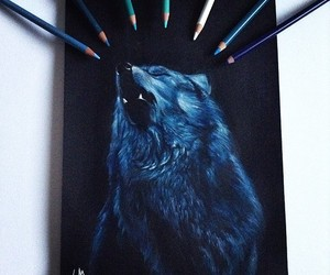 art, wolf, and black image