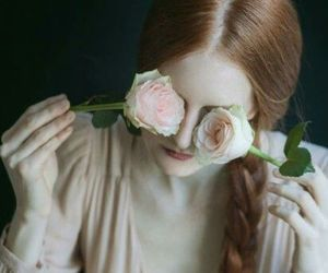 flowers and red hair image