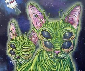 cat, alien, and green image