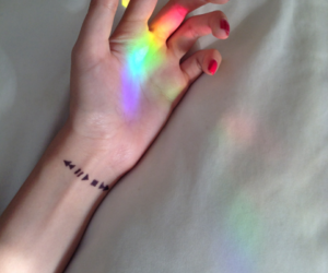 tattoo, rainbow, and hand image