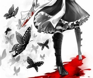 blood, anime, and butterfly image