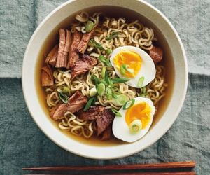 food, eggs, and noodles image