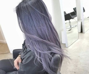 black, hair, and purple image