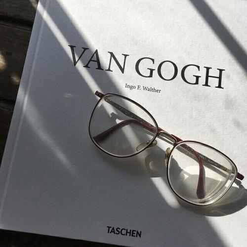 book, van gogh, and glasses image