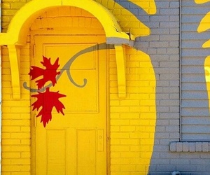 door, art, and yellow image
