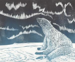 drawing, northern lights, and Polar Bear image