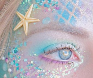 mermaid, makeup, and blue image