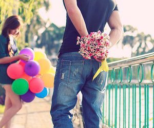 love, flowers, and boy image