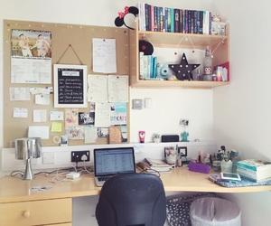books, desk, and college image