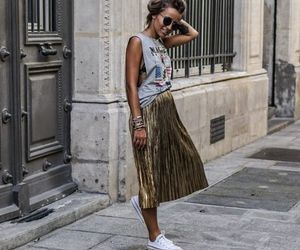 fashion, summer outfits, and metallic skirt image
