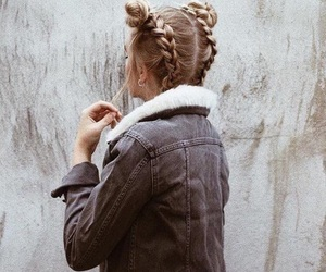 blonde, girl, and braids image